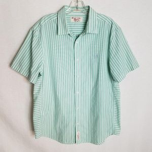 Penguin Slim Fit Button Front Green Striped Shirt